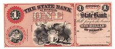 The State Bank of Michigan $1-Detroit, Michigan 18oos  *UNCIRCULATED*