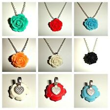 You Pick Color - Vintage Style Rose Flower Sterling Silver Necklace - Beautiful