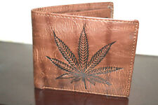 Men's Genuine PU Leather Wallet Money For gift Leaf Pattern Unique Slim. 098
