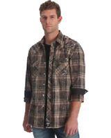Wrangler Rock 47 Mens Black Brown Embroidered Plaid Pearl Snap Shirt MRC328M NWT