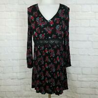 Francesca's Alya Large Dress Floral Black Red