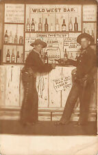 Antique 1900's RPPC Wild West Bar Bowler Hat Holster Chaps Portrait Postcard