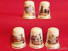 Set of 5 Motor Scooters (Gold Gilded) Collectors Thimbles