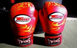Twins special boxing gloves. 14 oz, red with gold flame.