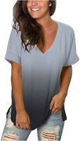 SAMPEEL Womens Floral Tops Short Sleeve V Neck, 61-gradientgray, Size X-Large k8