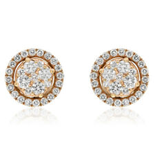 18K ROSE GOLD .75C PAVE ROUND DIAMOND HALO CLUSTER STUD STUDS EARRINGS