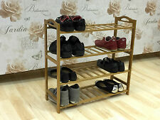 4 TIER NATURAL BAMBOO WOODEN SHOE RACK ORGANISER STAND STORAGE SHELF UNIT NEW