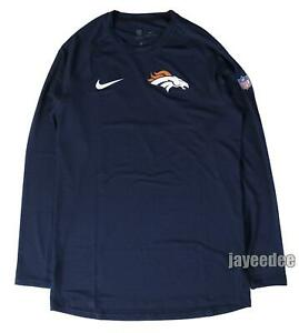 NIKE PRO BREATHE DENVER BRONCOS LS FITTED SHIRT NFL TEAM ISSUE PE NAVY XL