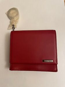 Tumi Red Black Leather Credit/Business Card Wallet New Unused
