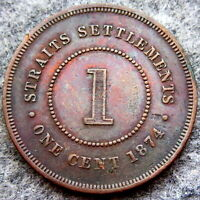 STRAITS SETTLEMENTS SINGAPORE MALAYSIA QUEEN VICTORIA 1874 ONE CENT BETTER GRADE