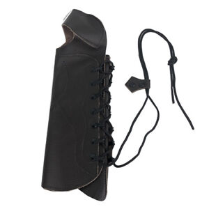 Archery Black Leather Arm Guard Bow Protect Gear w/ Cord Hunting Accessories