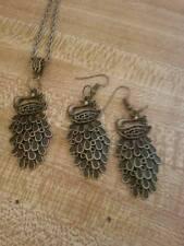 Antique Bronze peacock pendant Necklace/earring set retro Vintage