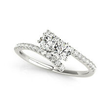 0.85 CT FOREVER ONE GHI MOISSANITE ROUND TWO STONE PAVE BAND ENGAGEMENT RING