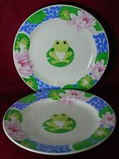 """TIENSHAN china FROG pattern Set of Two (2) Dinner Plates @ 10-5/8"""""""