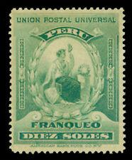 PERU  1899 UPU - LIBERTY 10s blue green  Scott # 159  mint MH  VF &  RARE