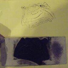 Ancien Tampon Scolaire Anatomie Vue Latérale Mâchoire    8 x 19cm