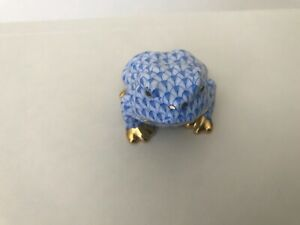 Herend Hungary frog with blue fishnet & gold trim. Mint