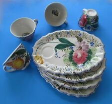 4  ITALIAN Luncheon/ Snack SETS Hand Painted ITALY  Floral Ceramic Plates + Cups