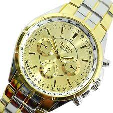 Gents Quadrante in Oro aziendale di lusso design cronografo due toni oro Acciaio Orologio