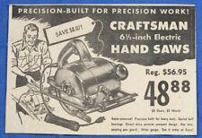 Vintage 1953 Sears Craftsman Hand Saw Circular Power Tool Newspaper Print Ad