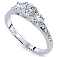 1ct Three Stone Diamond Engagement Ring 14K White Gold