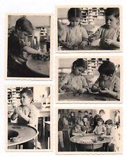 PHOTO Classe de Maternelle 1950 École Écolier Modelage Poterie Terre