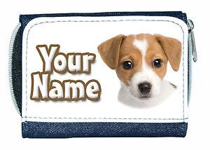 JACK RUSSELL DOG PERSONALISED LADIES/GIRLS DENIM PURSE - NAMED GIFT/PRESENT