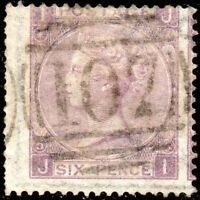 1865 Sg 97 6d purple 'JI' Plate 5 with 107 Bradford Duplex Cancel Good Used