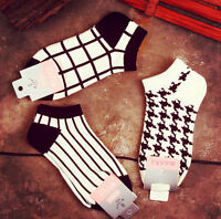 Girls Womens Cotton Socks Crew Ankle Low Cut Black and White Casual Dress Socks