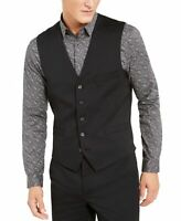 INC Mens Suit Seperates Black Size XL Slim Fit Vest Stretch V-Neck $69 344