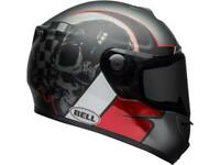 Casque moto route intégral BELL SRT Hart-Luck Skull Charcoal / blanc / rouge