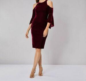 Coast Celestine Velvet Shift Merlot Dress - Size UK16 , BNWT