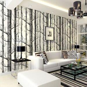 3D White Birch Tree Art Effect Wall Sticker 10M Wallpaper Roll DIY Home Decor UK