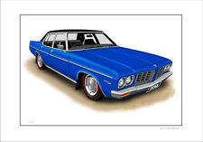 HOLDEN HQ  STATESMAN  LIMITED EDITION CAR DRAWING  PRINT  ( 8 CAR COLOURS )