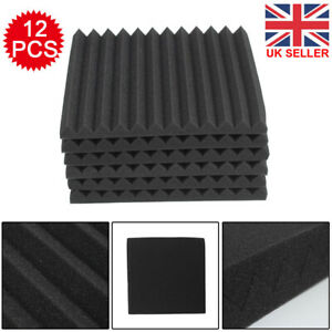 12pcs Acoustic Wall Panel Tiles Studio Sound Proofing Insulation Foam Pads UK