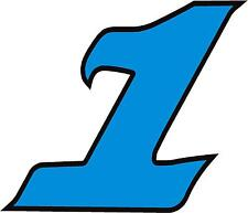 """x1 1"""" Race Number vinyl stickers (MORE in EBAY SHOP) Style 2 Number 1 Lblue/Blck"""