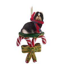 SHIH TZU Black White Dog Candy Cane Christmas Tree ORNAMENT
