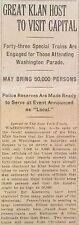 4 1925 NY TIMES newspapers LARGEST KU KLUX KLAN RALLY Washington BLACK AMERICANA