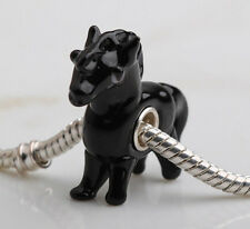 horse pony black PD 925 STERLING SILVER CORE MURANO GLASS  BEAD-CHARM beauty uk
