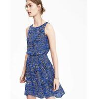 Banana Republic Womens Dress Size 10 Blue/Black Print Tiered Ruffle