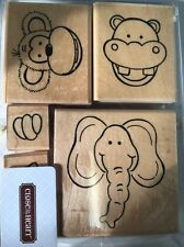 Close to my Heart Animals Elephant Rhino Monkey Set of 5 Rubber Stamps