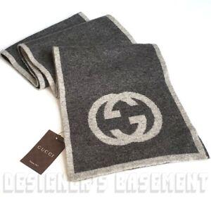 """GUCCI 2-tone gray MAGLIA Interlocking G 100% Cashmere 74"""" scarf NWT Authent $670"""