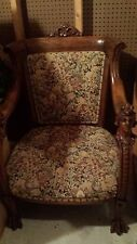 Karpen carved head antique vintage claw foot arm chair