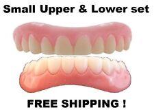 SMALL UPPER LOWER SET SECURE INSTANT SMILE False Cosmetic Dentures Teeth Veneer