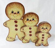 Vintage Gingerbread wood dolls home decor holiday christmas set of 3