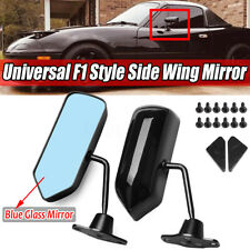 F1 Type Adjustable Side Mirror Wing Mirror Flat Glass Glossy Black  C!