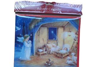 Traditional Advent Calendar Angel, Stable jesus scene 24 Windows NEW