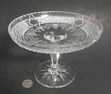 """HAWKES Signed AMERICAN BRILLIANT Cut Glass KOHINOOR Engraved 7"""" Compote Bowl ABP"""