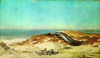 Oil painting elihu vedder - lair of the sea serpent huge snake by the seascape