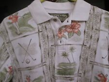 Pullover 3 Button Golf Shirt By Palm Island- M- Golf Theme - Player/Clubs/Palms